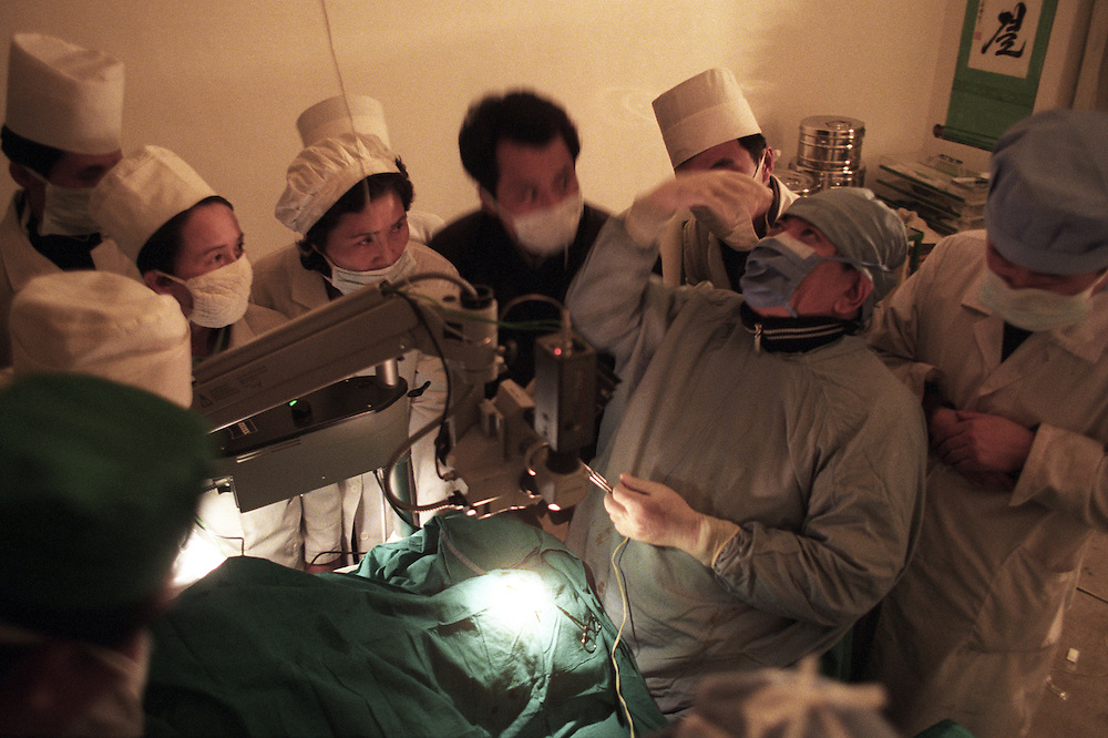North Korea Eye Surgery Workshop. Dr Ruit demonstrates his technique of cataract surgery to DPR Korea opthlamoligists at the Hospital in Haejul.