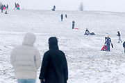 UNITED KINGDOM, London: 01 March 2018 Onlookers enjoy watching kids and adults alike sled down down a hill on Hampstead Heath this morning. The cold weather and snow is set continue as Storm Emma makes it's way across the country. Rick Findler / Story Picture Agency