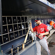 NEW YORK, NEW YORK - July 09: Daniel Murphy #20 of the Washington Nationals puts his bat in the bat rack in the dugout  before the Washington Nationals Vs New York Mets regular season MLB game at Citi Field on July 09, 2016 in New York City. (Photo by Tim Clayton/Corbis via Getty Images)