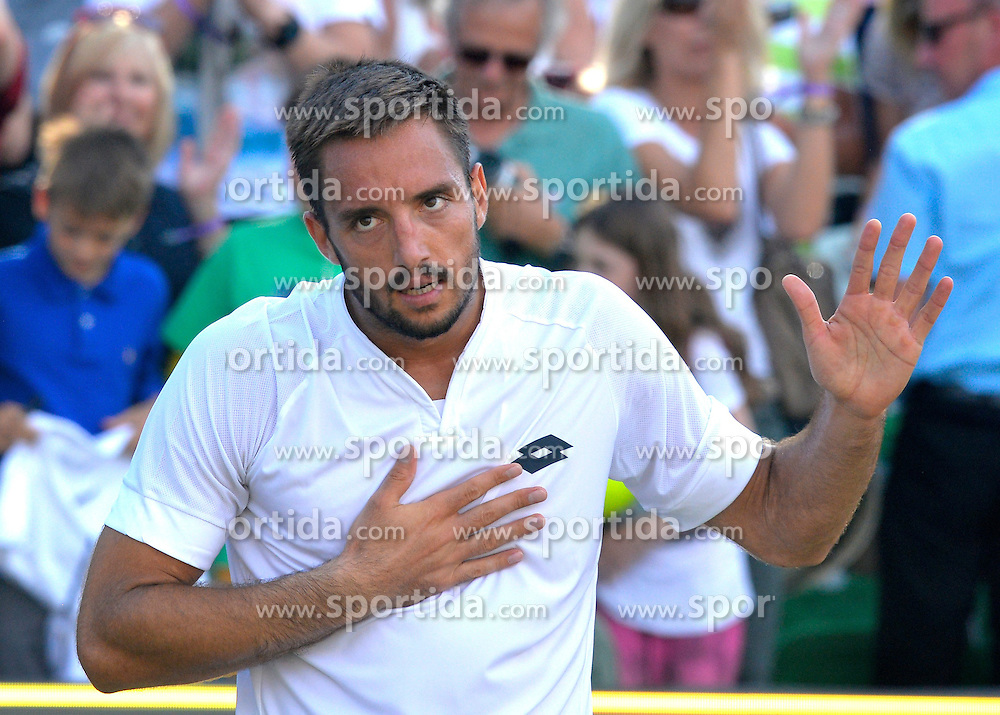 13.06.2015, Tennis Club Weissenhof, Stuttgart, GER, ATP Tour, Mercedes Cup Stuttgart, Halbfinale, im Bild Viktor Troicki (SRB) Schlussjubel Jubel jubelt Freude Emotion nach gewonnenem Match bedankt sich bei Publikum // during the half finals of Mercedes Cup of ATP world Tour at the Tennis Club Weissenhof in Stuttgart, Germany on 2015/06/13. EXPA Pictures &copy; 2015, PhotoCredit: EXPA/ Eibner-Pressefoto/ Weber<br /> <br /> *****ATTENTION - OUT of GER*****