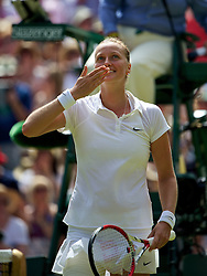 LONDON, ENGLAND - Thursday, July 3, 2014: Petra Kvitova (CZE) celebrates after winning the Ladies' Singles Semi-Final match 7-6 (6), 6-1 on day ten of the Wimbledon Lawn Tennis Championships at the All England Lawn Tennis and Croquet Club. (Pic by David Rawcliffe/Propaganda)