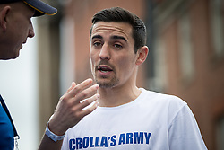 © Licensed to London News Pictures . 22/05/2016 . Manchester , UK . ANTHONY CROLLA at the finishing line . The Great Manchester Run in Manchester City Centre . Photo credit : Joel Goodman/LNP