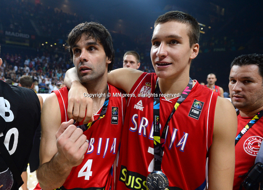 MILOS TEODOSIC i BOGDAN BOGDANOVIC of Serbia basketball team in action during Final FIBA World cup match against United states of America, Madrid, Spain Photo: MN PRESS PHOTO<br /> Basketball, Serbia, United states of America, Final, FIBA World cup Spain 2014