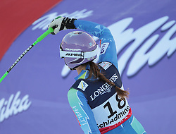 08.02.2013, Planai, Schladming, AUT, FIS Weltmeisterschaften Ski Alpin, Super Kombination, Slalom, im Bild Tina Maze (SLO, 2. Platz) // 2nd place Tina Maze of Slovenia reacts after Ladies Super Combined Slalom at the FIS Ski World Championships 2013 at the Planai Course, Schladming, Austria on 2013/02/08. EXPA Pictures © 2013, PhotoCredit: EXPA/ Sammy Minkoff