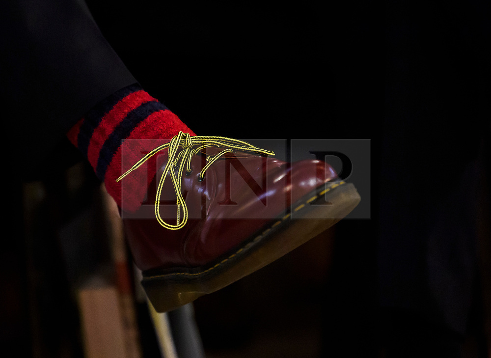 © Licensed to London News Pictures. 18/09/2018. Brighton, UK.  Shoes worn by Former Liberal Democrat leader TIM FARRON (left) as he attends the final day of the Liberal Democrat Autumn Conference in Brighton, East Sussex on September 18, 2018. This years event has been mainly focused around Brexit, the UK's departure from the EU. Photo credit: Ben Cawthra/LNP