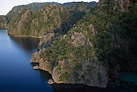 Aerial view of a limestone mountainous, cliff-lined shore..Coron Island, Philippines.