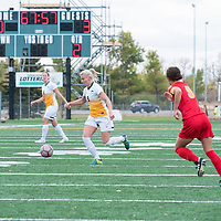 4th year midfielder Nikita Senko (9) of the Regina Cougars in action during the Women's Soccer Home Game on September 23 at U of R Field. Credit Matt Johnson/©Arthur Images 2017