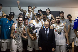 June 19, 2018 - Vitoria, Spain - Real Madrid president Florentino Perez, pose with his team during the celebration of the championship after Liga Endesa Finals match (4th game) between Kirolbet Baskonia and Real Madrid at Fernando Buesa Arena in Vitoria, Spain. June 19, 2018. (Credit Image: © Coolmedia/NurPhoto via ZUMA Press)