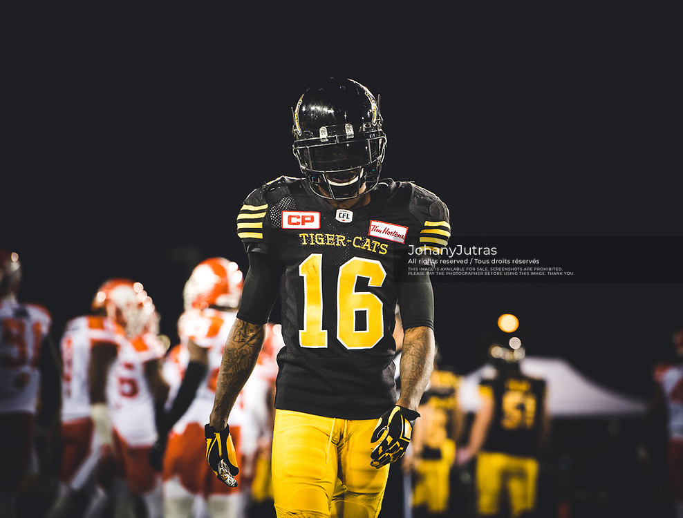 Brandon Banks (16) of the Hamilton Tiger-Cats during the game against the BC Lions at Tim Hortons Field in Hamilton, ON., on Saturday, July 15, 2017. (Photo: Johany Jutras)