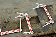 fallen road warning repair signs