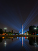 Apollo 11 and Washington Monument. Celebrating the 50th anniversary of man's first walk on the moon.