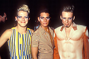 Three clubbers in iconic homosexual wear, Ibiza 1998