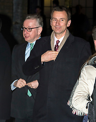 © Licensed to London News Pictures. 08/02/2016. London, UK. MICHAEL GOVE AND JEREMY HUNT leave the The Brewery in London after the annual Conservative Party Black & White Ball, a Conservative Party fundraiser.  Photo credit: Ben Cawthra/LNP