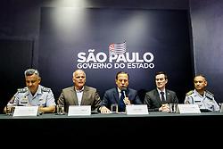 April 30, 2019 - SãO Paulo, Brazil - SÃO PAULO, SP - 30.04.2019: DORIA ANUNCIA LICITAÇÃO DE ARMAS PARA PM - In the picture of esq.p / dir. Coronel Salles, General Campos, João Doria, Colonel Camilo and Coronel Mendes. The governor of the state of São Paulo, João Doria announced on Tuesday (30), the opening of a bidding for the purchase of weapons for the Military Police. (Credit Image: © Aloisio Mauricio/Fotoarena via ZUMA Press)
