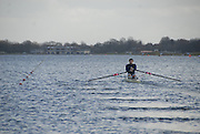 Eton, GREAT BRITAIN,  Bill LUCAS, M1X, moves down the course, GB Trials 3rd Winter assessment at,  Eton Rowing Centre, venue for the 2012 Olympic Rowing Regatta, Trials cut short due to weather conditions forecast for the second day Sunday  13/02/2011   [Photo, Karon Phillips/Intersport-images]