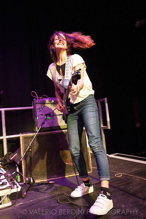 Carlotta Cosials of Spanish band Hinds live at the Cambridge Junction on 15 Feb 2016