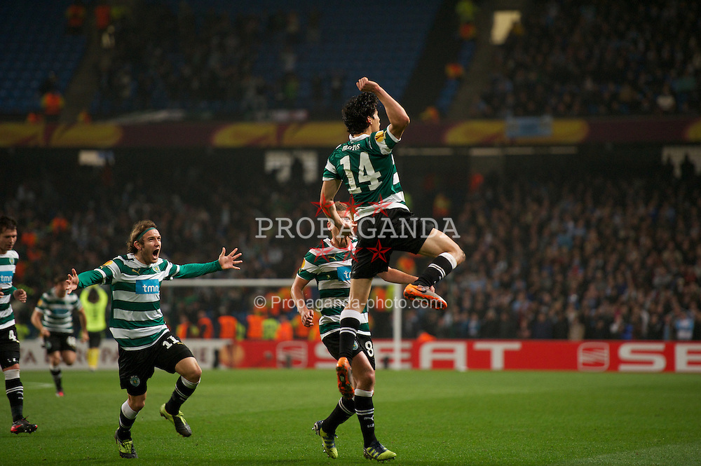 MANCHESTER, ENGLAND - Thursday, March 15, 2012: Sporting Clube de Portugal's Matias Fernandez celebrates scoring the first goal against Manchester City during the UEFA Europa League Round of 16 2nd Leg match at City of Manchester Stadium. (Pic by David Rawcliffe/Propaganda)