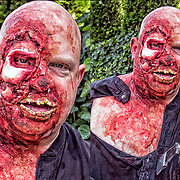 New York Comic Con cosplay attendee in his costume, as  Zombie from the Walking Dead.<br />