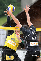 12.07.2014, Beach Village, Gstaad, SUI, FIVB Beach Volleyball Grand Slam Gstaad, im Bild Alison Cerutti (BRA) gegen Jonathan Erdmann (GER) // during the FIVB Beach Volleyball Grand Slam Gstaad at the Beach Village in Gstaad, Switzerland on 2014/07/12. EXPA Pictures © 2014, PhotoCredit: EXPA/ Freshfocus/ Claude Diderich<br /> <br /> *****ATTENTION - for AUT, SLO, CRO, SRB, BIH, MAZ only*****