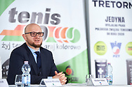 """Warsaw, Poland - 2017 April 19: Nikodem Palasz - Marketing's Director of Polish Tennis Federation speaks while press conference during official visit of International Tennis Federation (ITF) at """"Orzel"""" Tennis Club  on April 19, 2017 in Warsaw, Poland.<br /> <br /> Mandatory credit:<br /> Photo by © Adam Nurkiewicz / Mediasport<br /> <br /> Adam Nurkiewicz declares that he has no rights to the image of people at the photographs of his authorship.<br /> <br /> Picture also available in RAW (NEF) or TIFF format on special request.<br /> <br /> Any editorial, commercial or promotional use requires written permission from the author of image."""