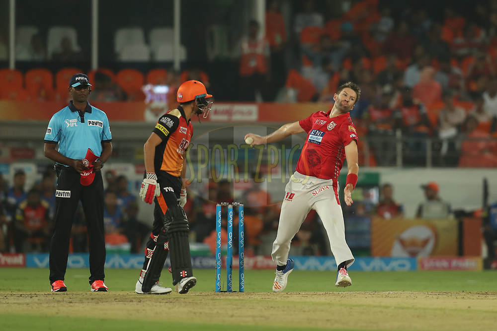 Andrew Tye of the Kings XI Punjab during match twenty five of the Vivo Indian Premier League 2018 (IPL 2018) between the Sunrisers Hyderabad and the Kings XI Punjab  held at the Rajiv Gandhi International Cricket Stadium in Hyderabad on the 26th April 2018.<br /> <br /> Photo by: Ron Gaunt /SPORTZPICS for BCCI