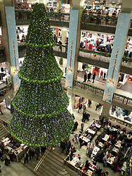 Interior of Nordiska Kompaniet or NK department store at Christmas in central Stockholm Sweden