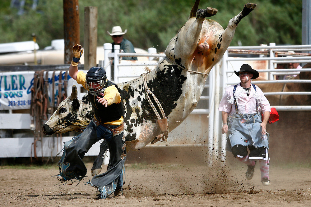 061811-Evergreen, COLORADO-evergreenrodeo-Bull rider Jason Ardent, of Ft. Lupton, CO, scrambles to safety after getting bucked during the Evergreen Rodeo Saturday, June 18, 2011 at the El Pinal Rodeo Grounds..Photo By Matthew Jonas/Evergreen Newspapers/Photo Editor