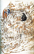 Folio 18 from Bibliotheque Nationale, MS It. 81, Allegorical map ofthe City of Rome, showing a personification of Rome as a widow during the Avignon Papacy.Scanned from Four Gothic Kings