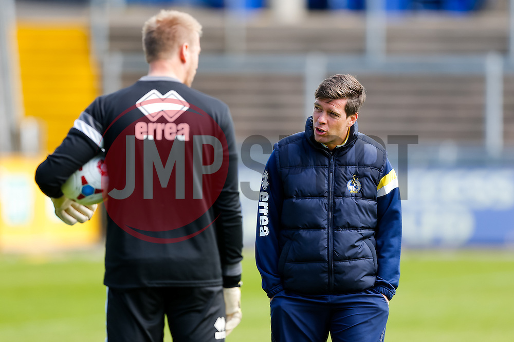 Bristol Rovers Manager Darrell Clarke talks to Steve Mildenhall as he takes training before Sundays Vanamara Conference Play Off Final match against Grimsby Town at Wembley Stadium for promotion to the Football League 2 - Photo mandatory by-line: Rogan Thomson/JMP - 07966 386802 - 12/05/2015 - SPORT - FOOTBALL - Bristol, England - Memorial Stadium - Bristol Rovers Play Off Final Previews - Vanarama Conference Premier.
