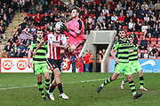 Forest Green Rovers goalkeeper Bradley Collins(1) catches the ball during the EFL Sky Bet League 2 match between Cheltenham Town and Forest Green Rovers at LCI Rail Stadium, Cheltenham, England on 14 April 2018. Picture by Shane Healey.