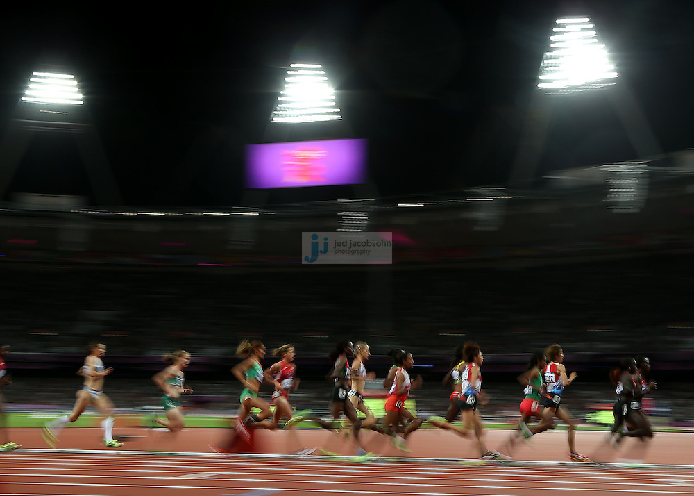 A general view of the women's 10000m final during track and field at the Olympic Stadium during day 6 of the London Olympic Games in London, England, United Kingdom on August 3, 2012..(Jed Jacobsohn/for The New York Times)..