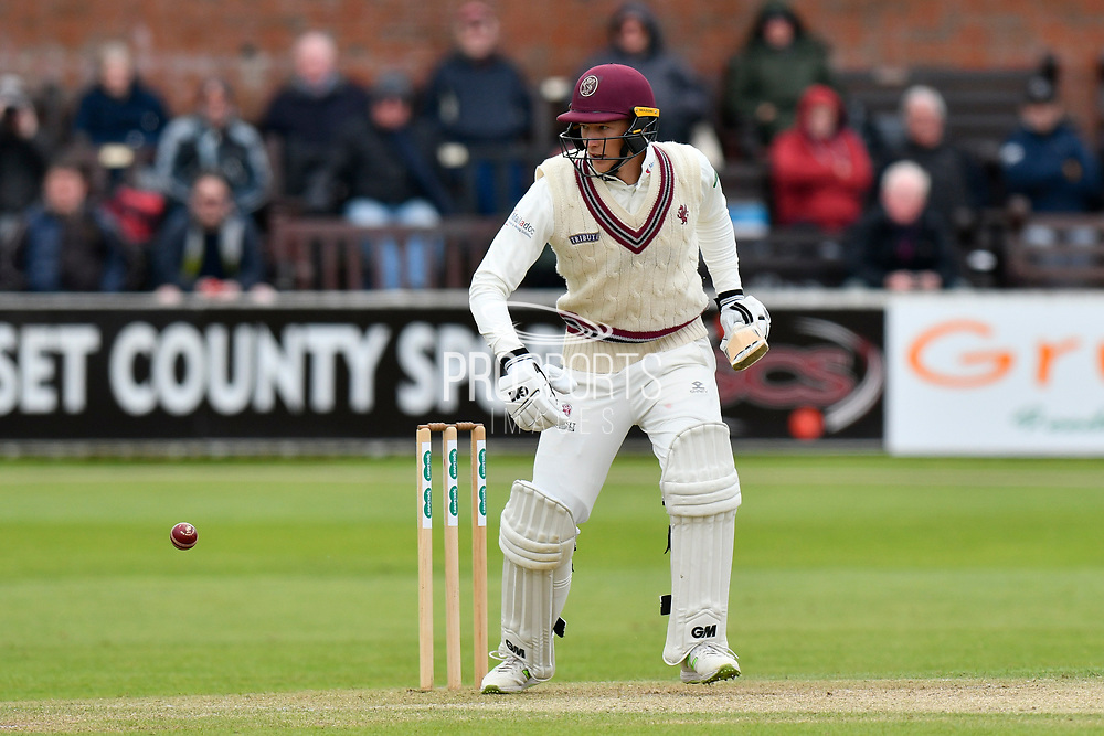 George Bartlett of Somerset batting during the third day of the Specsavers County Champ Div 1 match between Somerset County Cricket Club and Yorkshire County Cricket Club at the Cooper Associates County Ground, Taunton, United Kingdom on 29 April 2018. Picture by Graham Hunt.