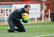 Derby County Goalkeeper Scott Carson during the warm up before the Sky Bet Championship match between Brentford and Derby County at Griffin Park, London, England on 20 February 2016. Photo by Andy Walter.