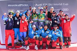 March 9, 2019 - Kranjska Gora, Kranjska Gora, Slovenia - Henrik Kristoffersen and Rasmus Windingstad of Norway celebrating with their team at the Audi FIS Ski World Cup Vitranc on March 8, 2019 in Kranjska Gora, Slovenia. (Credit Image: © Rok Rakun/Pacific Press via ZUMA Wire)