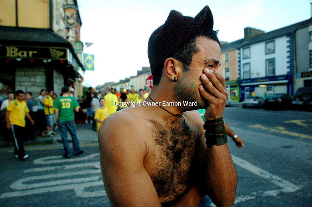 The little town of Gort,Co Galway who's population is almost half made up of Brazilian Imigrants turns out for the Highs and the lows of Brazils World Cup Soccer Campaign...Photograph by Eamon Ward