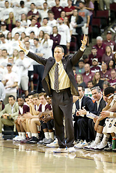 Texas A&M head coach Billy Kennedy calls plays agaisnt Iowa State during the first half of an NCAA college basketball game, Saturday, Jan. 30, 2016, in College Station, Texas. Texas A&M won 72-62. (AP Photo/Sam Craft)
