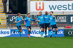 Fleetwood Town players celebrate the opening goal - Mandatory by-line: Ryan Crockett/JMP - 07/04/2018 - FOOTBALL - Aesseal New York Stadium - Rotherham, England - Rotherham United v Fleetwood Town - Sky Bet League One