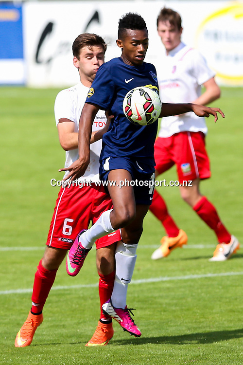 Auckland City's Maro Bonsu-Maro controls the ball. ASB Youth League, Auckland City v Waitakere United, Kiwitea Street, Auckland, Sunday 21st November 2014. Photo: David Joseph / www.photosport.co.nz