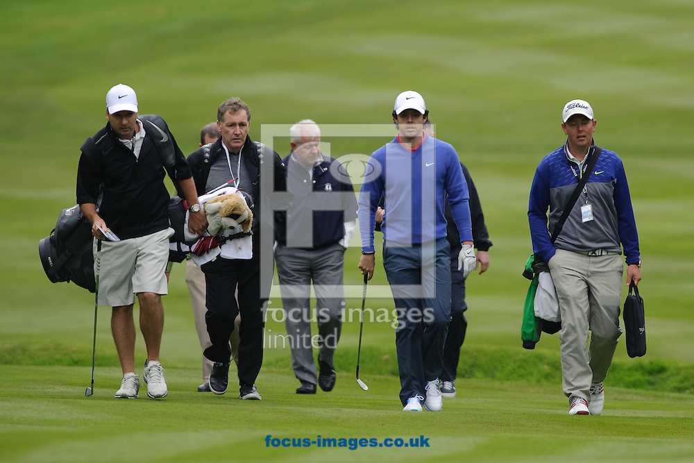 Picture by Gerald O'Rourke/Focus Images Ltd +44 7500 165179.21/05/2013.Rory McIlroy with his entourage pictured during BMW PGA Championships practice day at Wentworth Golf Club, Virginia Water.