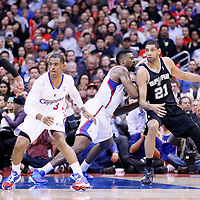 18 February 2014: San Antonio Spurs power forward Tim Duncan (21) posts up Los Angeles Clippers center DeAndre Jordan (6) during the San Antonio Spurs 113-103 victory over the Los Angeles Clippers at the Staples Center, Los Angeles, California, USA.