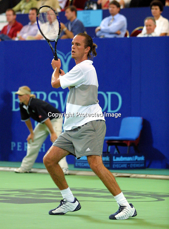 Sport,Tennis,Hopman Cup in Perth,Australien,Mixed<br /> Doubles WM, Xavier Malisse (Bel.) in Aktion,action , 04.01.2002