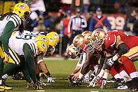 The line of scrimmage between San Francisco 49ers and Green Bay Packers during an NFC divisional playoff  NFL football game between the Green Bay Packers and the San Francisco 49ers in San Francisco , CA Saturday, January 12, 2013. (AP Photo/Tom Hauck)