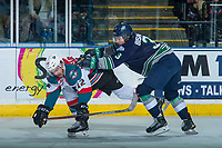 KELOWNA, CANADA - APRIL 30: Anthony Bishop #3 of the Seattle Thunderbirds stick checks Erik Gardiner #12 of the Kelowna Rockets on April 30, 2017 at Prospera Place in Kelowna, British Columbia, Canada.  (Photo by Marissa Baecker/Shoot the Breeze)  *** Local Caption ***