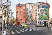 """Fresque mural Le mur des Canuts du quartier de la Croix-Rousse // Wall painting  """"Le mur des Canuts""""  of la Croix-Rousse area"""