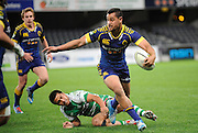Fa' asiu Fuatai in action for Otago in the ITM Cup Rugby Match. Otago v Manawatu at Forsyth Barr Stadium, Dunedin, New Zealand. Friday 10 October 2014. New Zealand. Photo: Richard Hood/photosport.co.nz