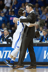 Kentucky head coach Matthew Mitchell, right, gets  a bear hug after a time out in the in the second half.<br /> <br /> The University of Kentucky hosted the University of Tennessee, Monday, Jan. 25, 2016 at Memorial Coliseum in Lexington .