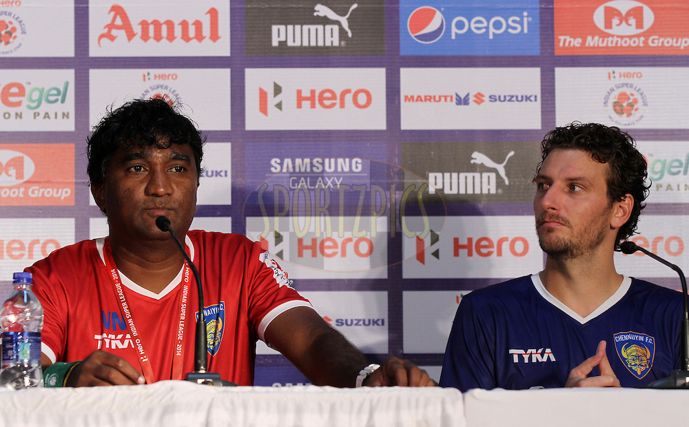 Elano Blumer of Chennaiyin FC with assistant coach during the press conference of  match 15 of the Hero Indian Super League between Chennaiyin FC and Mumbai City FC held at the Jawaharlal Nehru Stadium, Chennai, India on the 28th October 2014.<br /> <br /> Photo by:  Vipin Pawar/ ISL/ SPORTZPICS