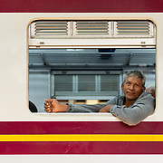 Portrait of Thai man on a train at Hua Lamphong station
