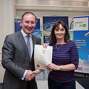 24.05.2018.       <br /> The Limerick Institute of Technology with Atlantic Air Adventures and funding from the Aviation Skillnet presented over forty certificates to Aviation professionals who have completed the Certificate in Aviation, The Aircraft Records Technician Level 7 and Part 21 Design, Level 7.<br /> <br /> Pictured at the event was Jim Gavin, The Irish Aviation Authority and Manager of the Dublin Football Team who presented, Jane Fitzpatrick with their cert.<br /> <br /> LIT in partnership with Atlantic Air Adventures, CAE Parc Aviation, Part 21 Design and industry experts such as Anton Tams, GECAS, Don Salmon, CAE Parc Aviation and Mick Malone, Part 21 Design have developed and deliver these key training programmes with funding for aviation companies provided by The Aviation Skillnet.<br /> <br /> . Picture: Alan Place