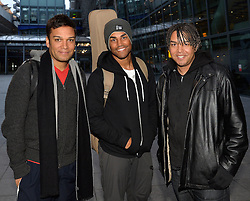 Michael Jackson's nephews 3T arrive at Heathrow Airport from the US, <br /> L to R  - TJ jackson, Taj Jackson and Taryll Jackson, the three sons of Tito Jackson, United Kingdom, Monday, 17th February 2014. Picture by David Dyson / i-Images